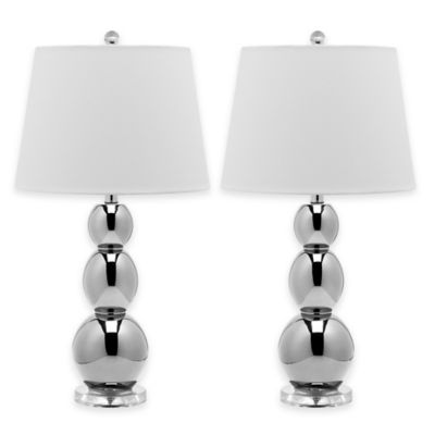 Safavieh Jayne 1-Light Glass Sphere Table Lamp in Silver with Cotton Shade (Set of 2)