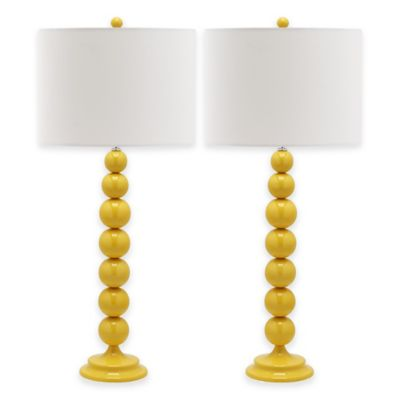Safavieh Jenna Stacked Ball Table Lamp in Yellow with Cotton Shade (Set of 2)