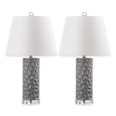 Safavieh Dixon 1-Light Thumbprint Table Lamps in Black with Cotton Shade (Set of 2)