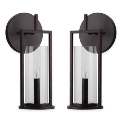 Safavieh Elbridge 1-Light Semi-Flush Mount Wall Sconces in Black with Glass Shade (Set of 2)