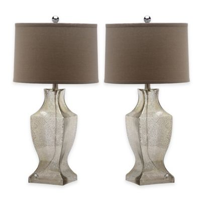 Safavieh Glass Bottom 1-Light Urn Table Lamps in Antique Silver with Cotton Shade (Set of 2)