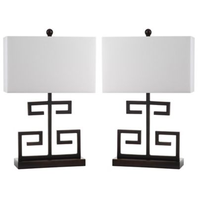 Safavieh Greek Key 1-Light Table Lamp in Bronze with Cotton Shade (Set of 2)