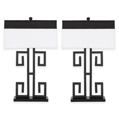 Safavieh Greek Key 1-Light Table Lamp in Black with Cotton Shade (Set of 2)