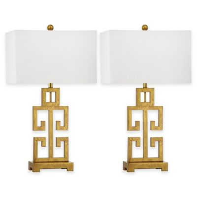 Safavieh Greek Key 1-Light Table Lamp in Antique Gold with Cotton Shade (Set of 2)