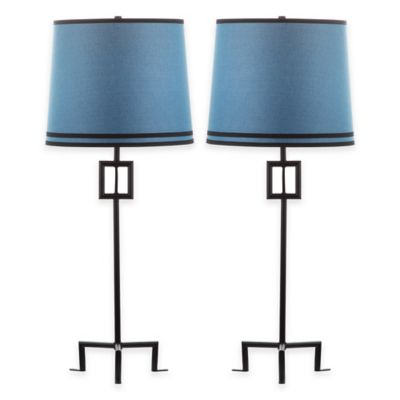 Safavieh Hanover 1-Light Slim Table Lamps in Black Iron with Linen Shade (Set of 2)