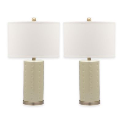 Safavieh Roxanne 1-Light Ceramic Table Lamp with Cotton Shade in Blue (Set of 2)