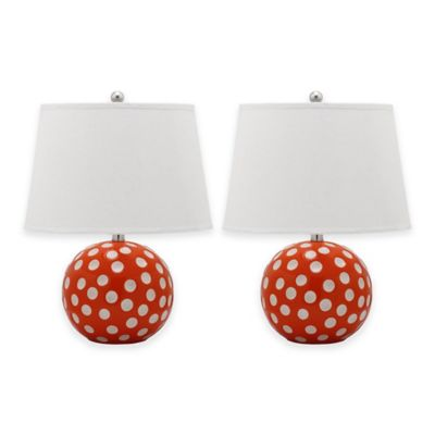 Safavieh Polka Dot 1-Light Round Table Lamps in Navy with Cotton Shade (Set of 2)