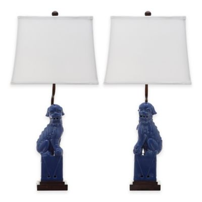 Safavieh Foo Dog Table Lamps in Navy (Set of 2)