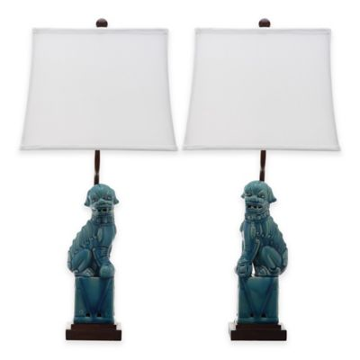 Safavieh Foo Dog Table Lamps in Blue (Set of 2)