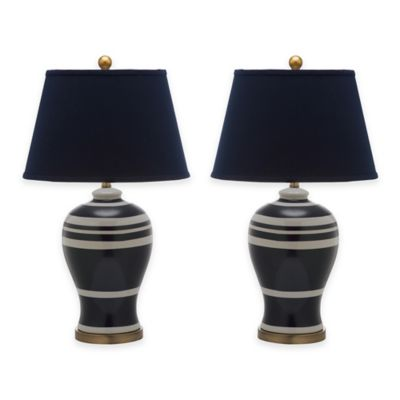 Safavieh Pottery 1-Light Striped Ginger Jar Table Lamps in Blue with Cotton Shade (Set of 2)