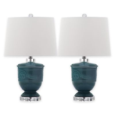 Safavieh Shoal 1-Light Ceramic Table Lamp in Grey with Cotton Shade (Set of 2)