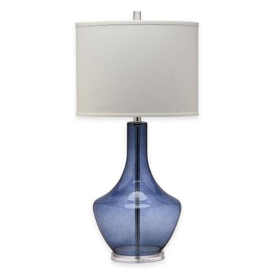 Safavieh Mercury 1-Light Crackle Glass Table Lamp in Light Blue with Cotton Shade
