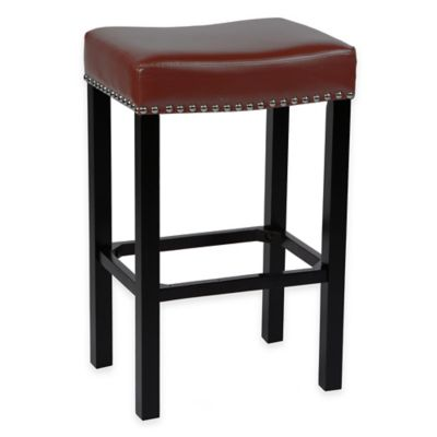 Amy 30-inch Black Bonded Leather Barstool with Chrome Nailhead Trim