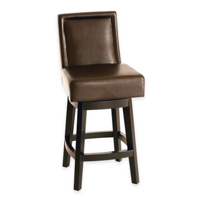 Panama 30-Inch Swivel Bonded Leather Barstool in Brown