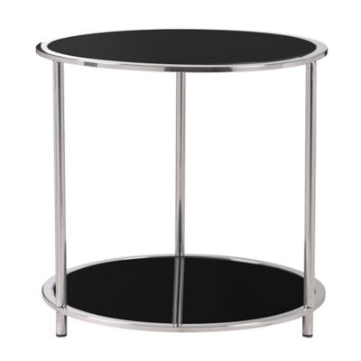 Kenroy Home Cocktail Accent Table in Black/Stainless Steel