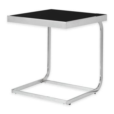 Kenroy Home Tuck Accent Table in Stainless Steel/Black