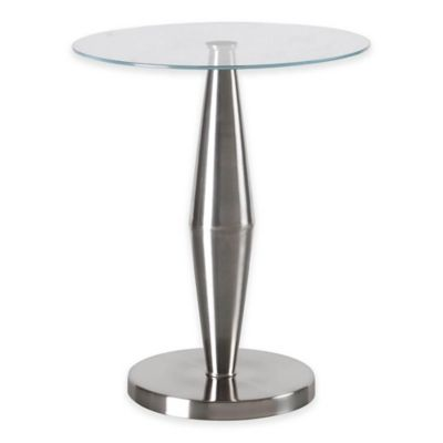 Kenroy Home Metrica Accent Table in Brushed Stainless Steel