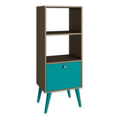 Manhattan Comfort Sophisticated Sami Double Bookcase in Aqua