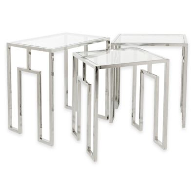 Safavieh Theo Nesting Tables in Stainless Steel (Set of 3)