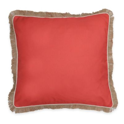 Thro Dean Fringe Square Pillow in Pink