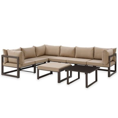 Modway Fortuna Outdoor 8-Piece Patio Sectional Sofa Set in Mocha
