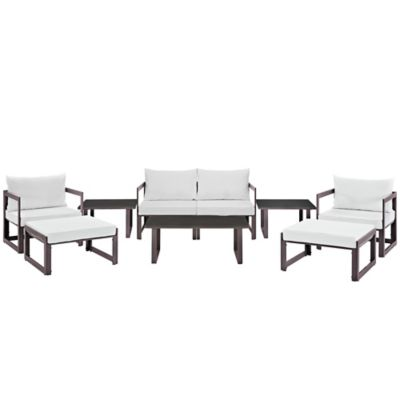 Modway Fortuna Outdoor 9-Piece Patio Sectional Sofa Furniture Set in White