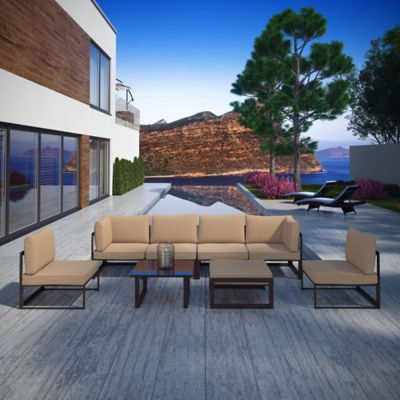 Modway Fortuna Outdoor 8-Piece Patio Sectional Seating Set in Mocha