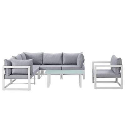 Modway Fortuna Outdoor 7-Piece Patio Sectional Furniture Set in White