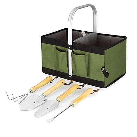 picnic time garden caddy collapsible basket with tools in