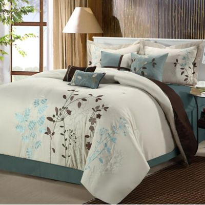 Chic Home Brooke 12-Piece Queen Comforter Set in Beige