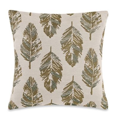 Leaves Square Throw Pillow in Green