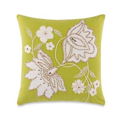 Lotty Floral Green 18-Inch x18-Inch Throw Pillow