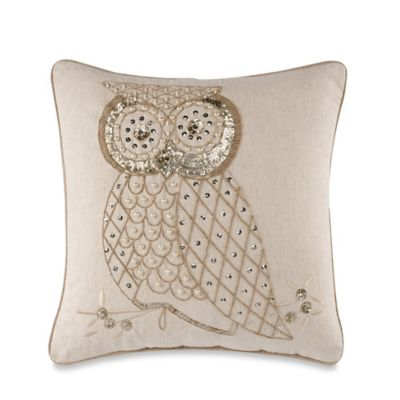 Owl Glam Natural 18-Inch Square Throw Pillow