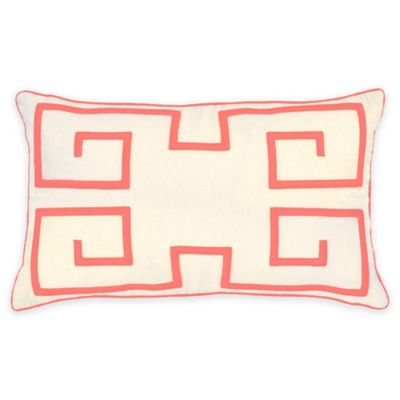 Jack Embroidered Oblong Throw Pillow in Coral