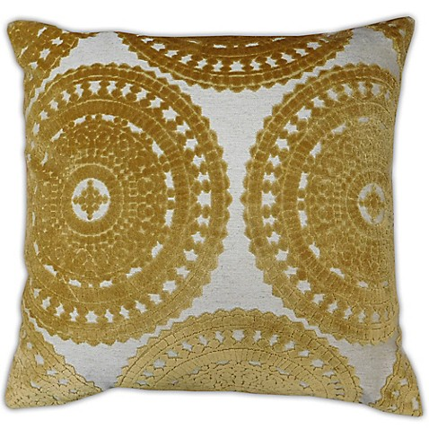 Yellow Decorative Pillows For Bed : Sarona Medallion Square Throw Pillow in Yellow - www.BedBathandBeyond.com