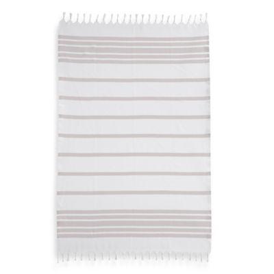 Herringbone Fouta Pestemal Beach Towel in Beige