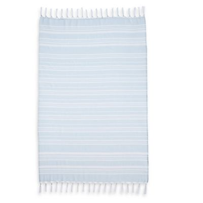 Linum Home Textiles Ephesus Striped Pestemal Beach Towel in Soft Aqua