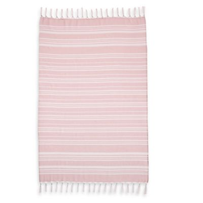 Linum Home Textiles Ephesus Striped Pestemal Beach Towel in Soft Aqua