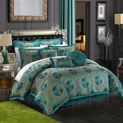 Chic Home Alessandro 9-Piece Queen Comforter Set in Teal