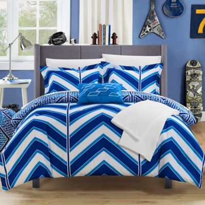 Chic Home Aloretta 8-Piece Reversible Twin/Twin XL Comforter Set in Navy