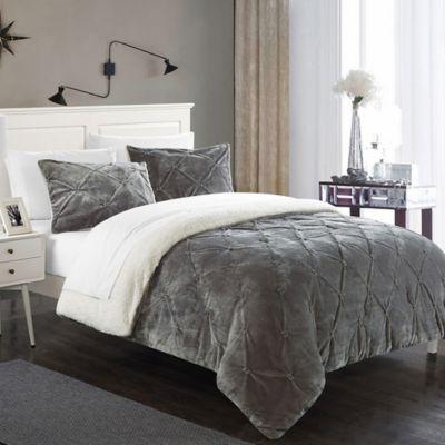 Chic Home Aurelia 3-Piece Queen Comforter Set in Grey