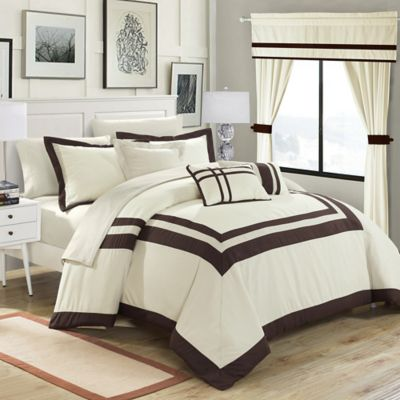 Chic Home Bertran 20-Piece Queen Comforter Set in Beige