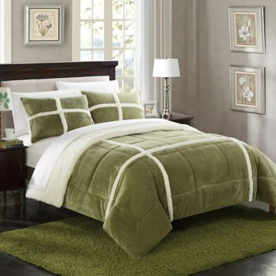 Chic Home Camille 3-Piece Queen Comforter Set in Green