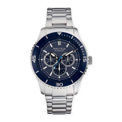 Nautica® Men's 44mm NST 10 Mutifunction Blue Dial Watch in Stainless Steel