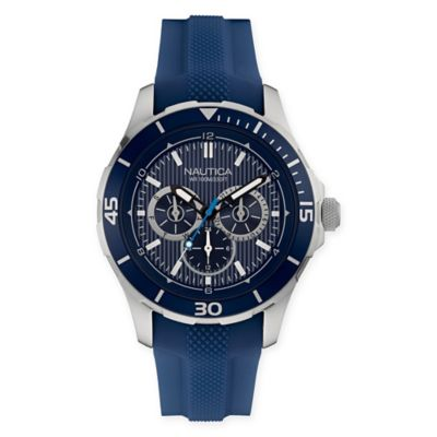 Nautica® Men's 44mm NST 11 Chronograph Watch in Stainless Steel with Blue Leather Strap
