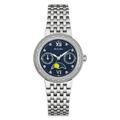 Bulova Diamonds Ladies' 31mm Diamond-Accented Moon Phase Watch in Stainless Steel w/ Blue Dial