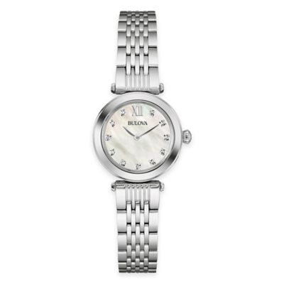 Bulova Diamonds 24.5mm Diamond-Accent Mother of Pearl Watch in Stainless Steel
