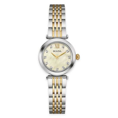 Bulova Diamonds 24.5mm Diamond-Accent Mother of Pearl Watch in Two-Tone Stainless Steel