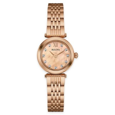Bulova Diamonds 24.5mm Diamond-Accent Rose Mother of Pearl Watch in Rose Goldtone Stainless Steel