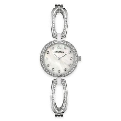 Bulova Classic Ladies' 26mm Crystal-Accented Mother of Pearl Open Bracelet Watch in Stainless Steel